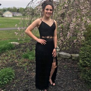 Black fringe 2 pc prom dress by Angela and Alison.